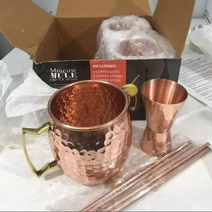Other - Moscow Mule Copper Mugs-Set of 3-Jigger-Straws